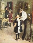 unknow artist Off to School oil painting reproduction
