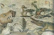 Nilotic mosaic with hippopotamus,crocodile and ducks