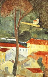 Amedeo Modigliani landscape at cagnes