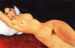Amedeo Modigliani Reclining Nude on a Red Couch