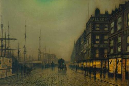 Atkinson Grimshaw Liverpool Quay by Moonlight