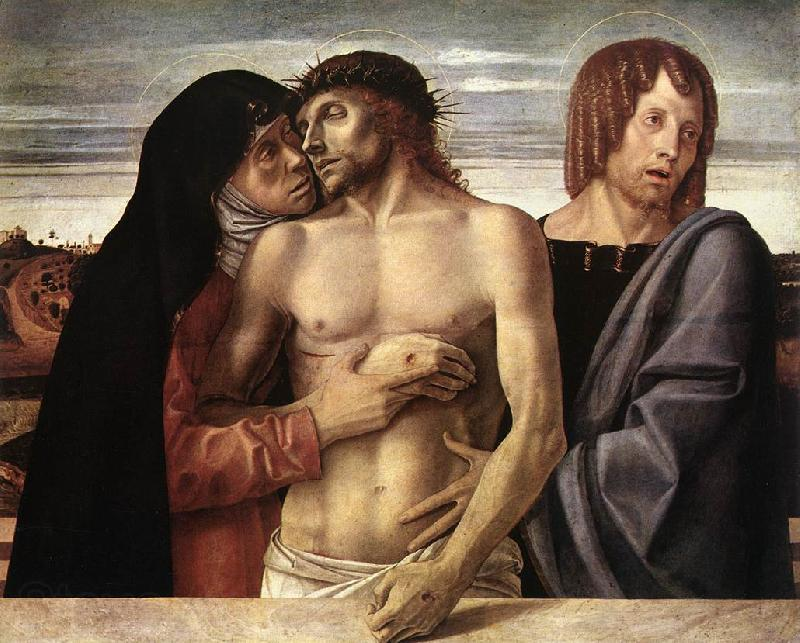 BELLINI, Giovanni Dead Christ Supported by the Madonna and St John (Pieta)