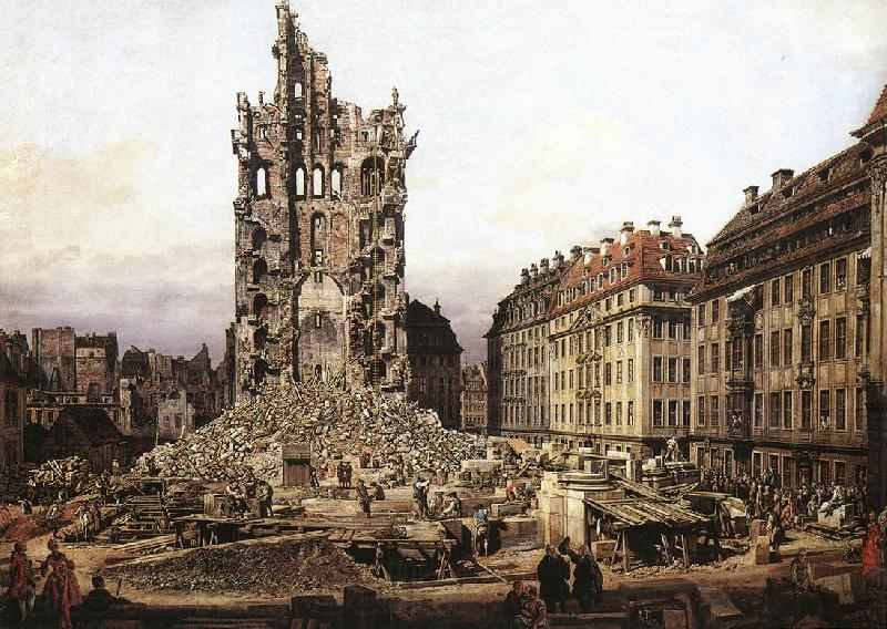 BELLOTTO, Bernardo The Ruins of the Old Kreuzkirche in Dresden gfh