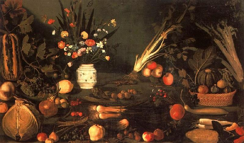 Caravaggio Still Life with Flowers Fruit