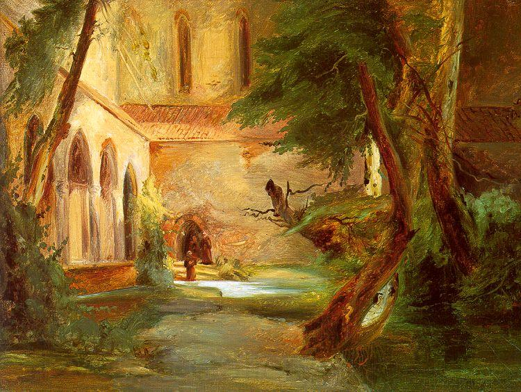 Charles Blechen Monastery in the Wood