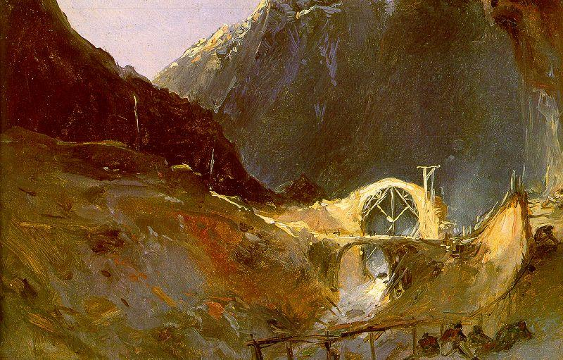 Charles Blechen The Building of the Devil's Bridge