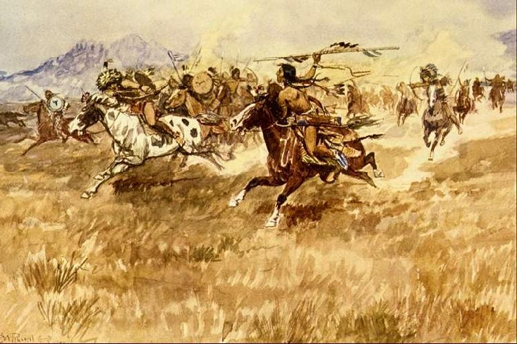 Charles M Russell Fight Between the Black Feet