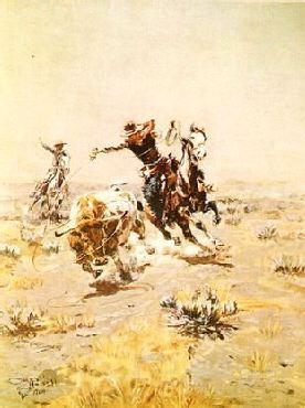 Charles M Russell O.H.Cowboys Roping a Steer