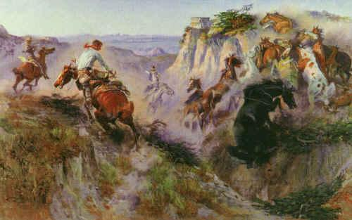 Charles M Russell The Wild Horse Hunters