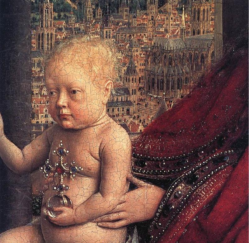 EYCK, Jan van The Virgin of Chancellor Rolin (detail) ds