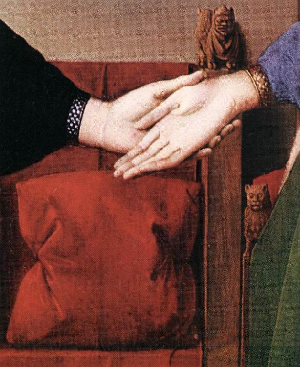 EYCK, Jan van Portrait of Giovanni Arnolfini and his Wife (detail) sdfs