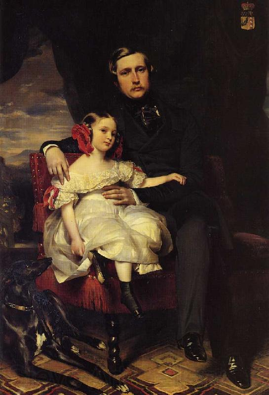 Franz Xaver Winterhalter Napoleon Alexandre Louis Joseph Berthier, Prince de Wagram and his Daughter, Malcy Louise Caroline F