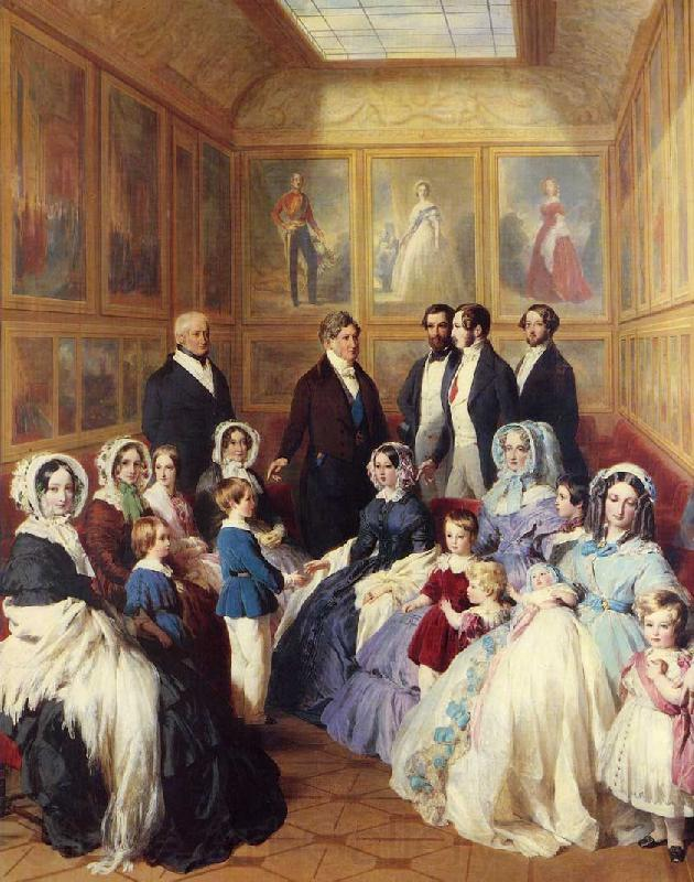 Franz Xaver Winterhalter Queen Victoria and Prince Albert with the Family of King Louis Philippe at the Chateau D'Eu