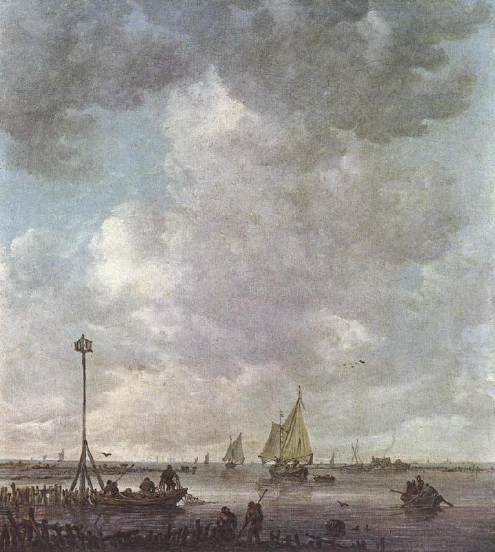 GOYEN, Jan van Marine Landscape with Fishermen fu