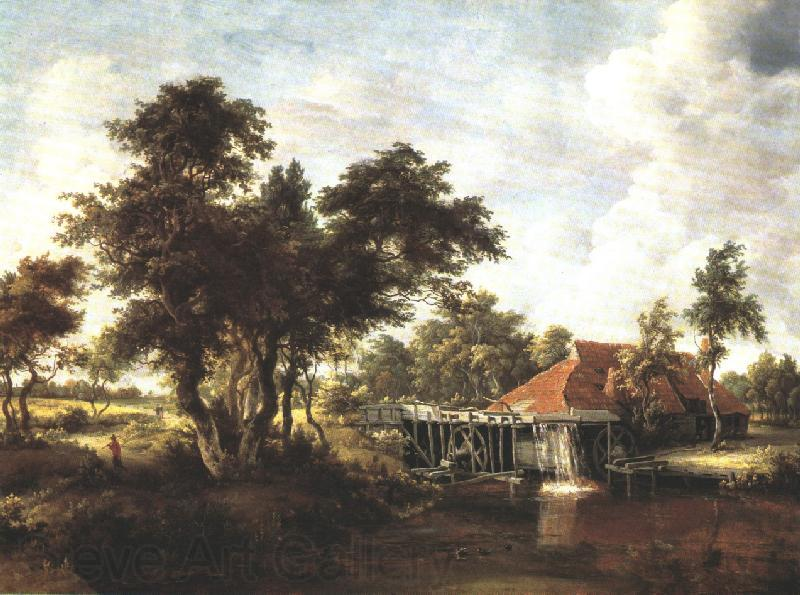HOBBEMA, Meyndert Wooded Landscape with Water Mill wf