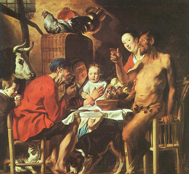 Jacob Jordaens Satyr at the Peasant's House