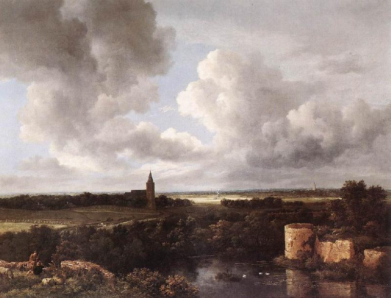 Jacob van Ruisdael An Extensive Landscape with Ruined Castle and Village Church