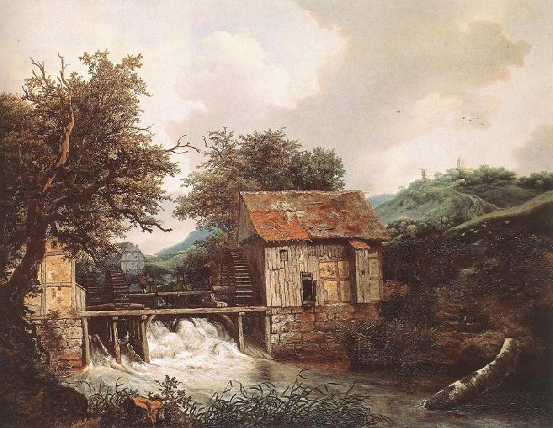 Jacob van Ruisdael Two Watermills and an Open Sluice near Singraven