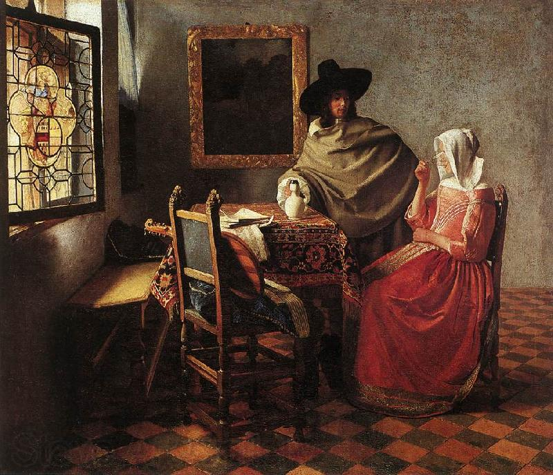 Jan Vermeer Lady Drinking and a Gentleman
