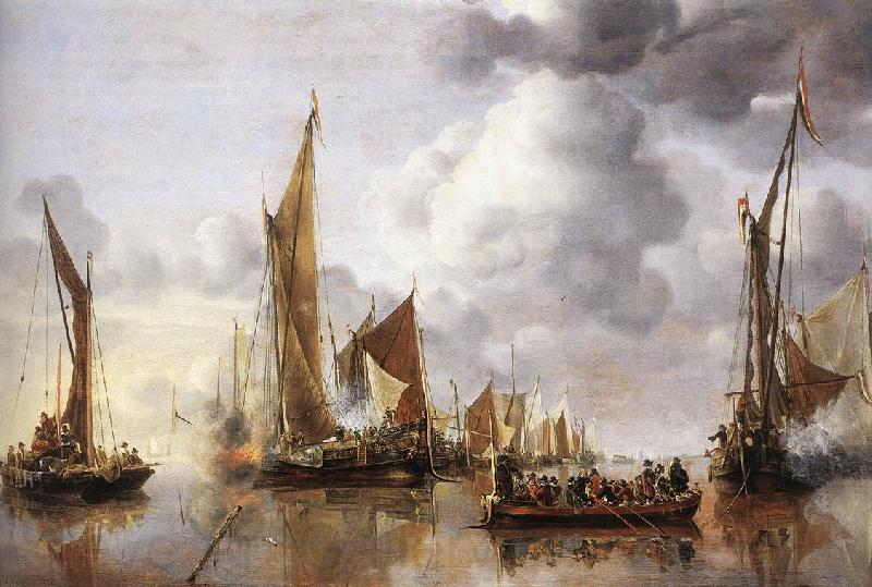 Jan van de Capelle The State Barge Saluted by the Home Fleet