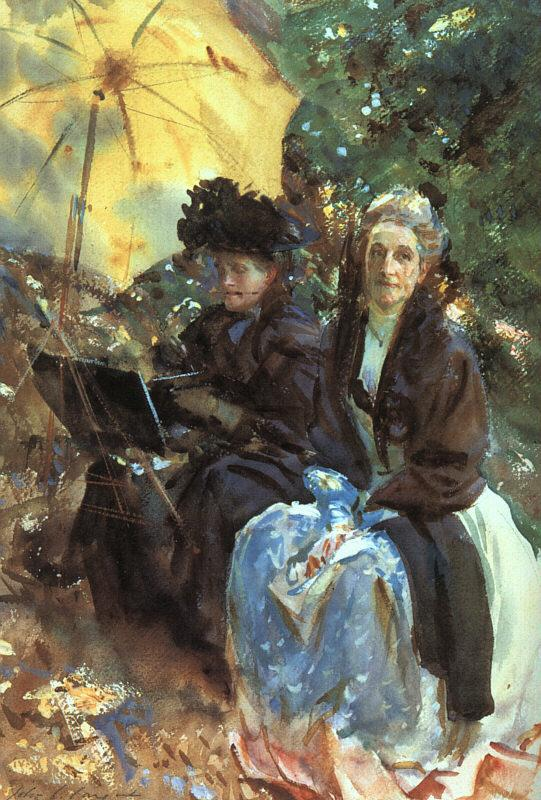 John Singer Sargent Miss Wedgewood and Miss Sargent Sketching