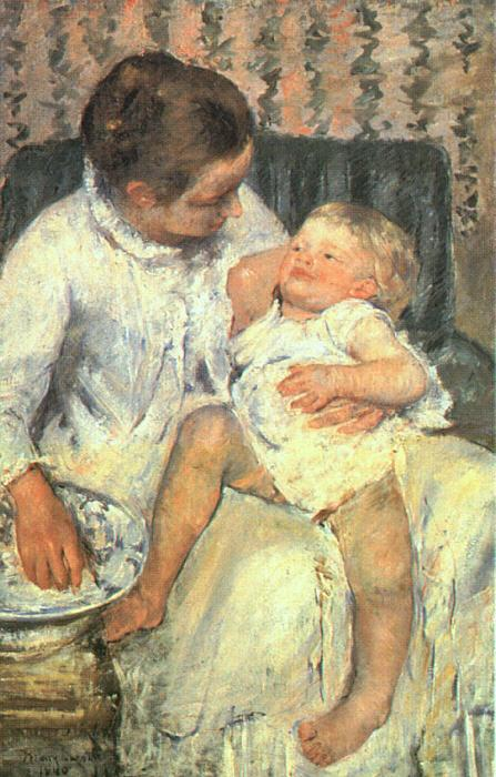 Mary Cassatt Mother About to Wash her Sleepy Child