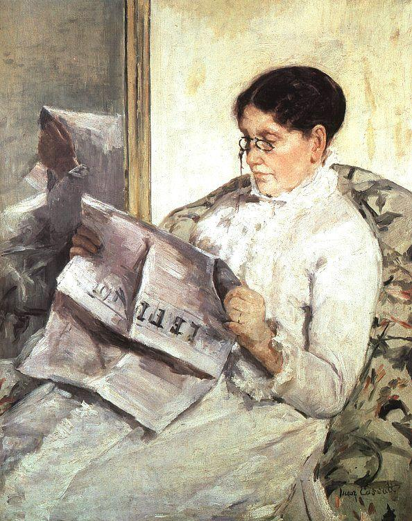 Mary Cassatt Reading Le Figaro
