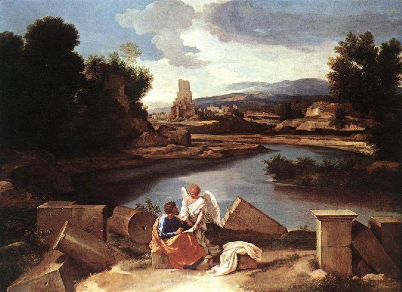 Nicolas Poussin Landscape with St Matthew and the Angel