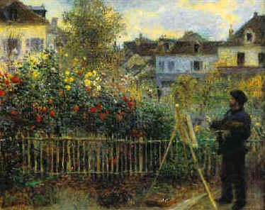 Pierre Renoir Monet Painting in his Garden