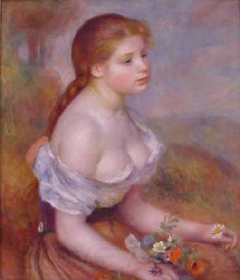 Pierre Renoir Young Girl With Daisies