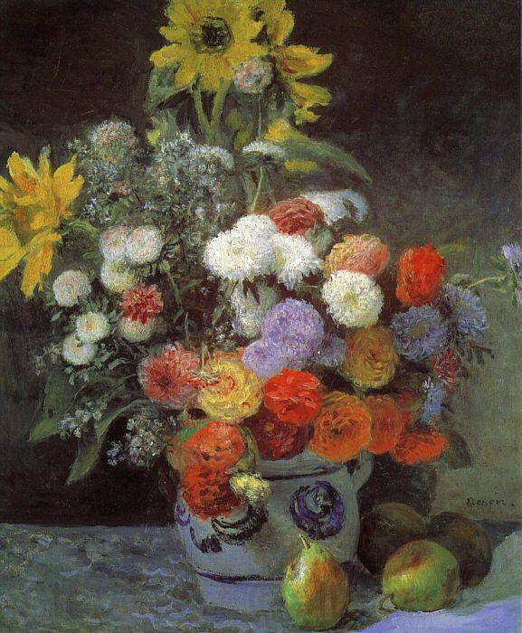 Pierre Renoir Mixed Flowers in an Earthenware Pot