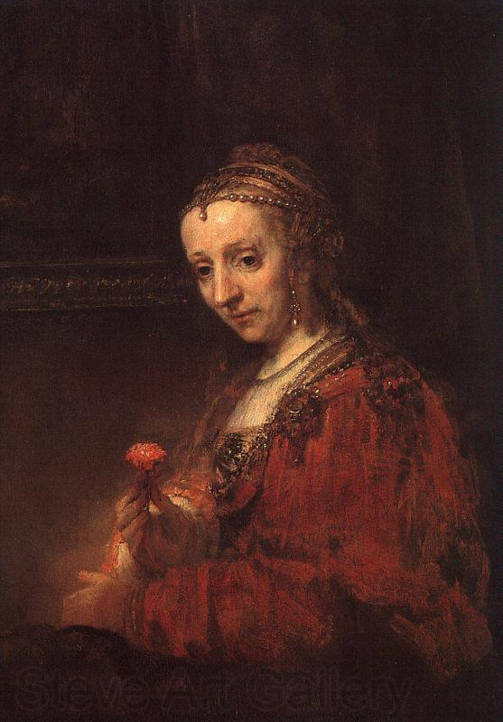 Rembrandt Lady with a Pink