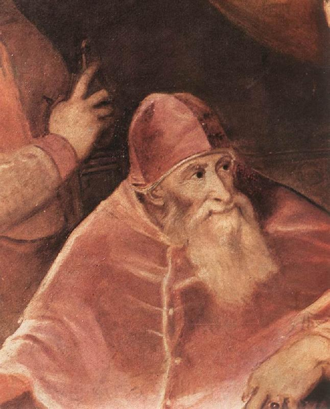 TIZIANO Vecellio Pope Paul III with his Nephews Alessandro and Ottavio Farnese (detail) art