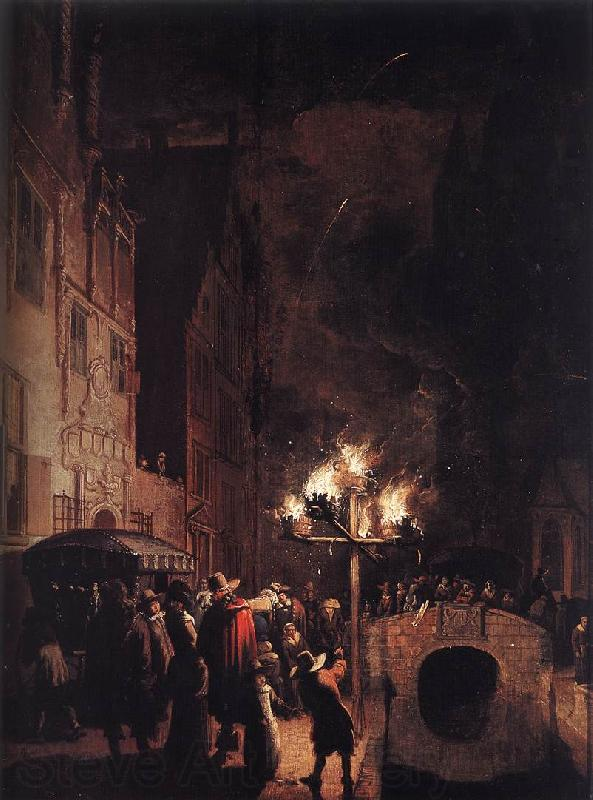 POEL, Egbert van der Celebration by Torchlight on the Oude Delft af