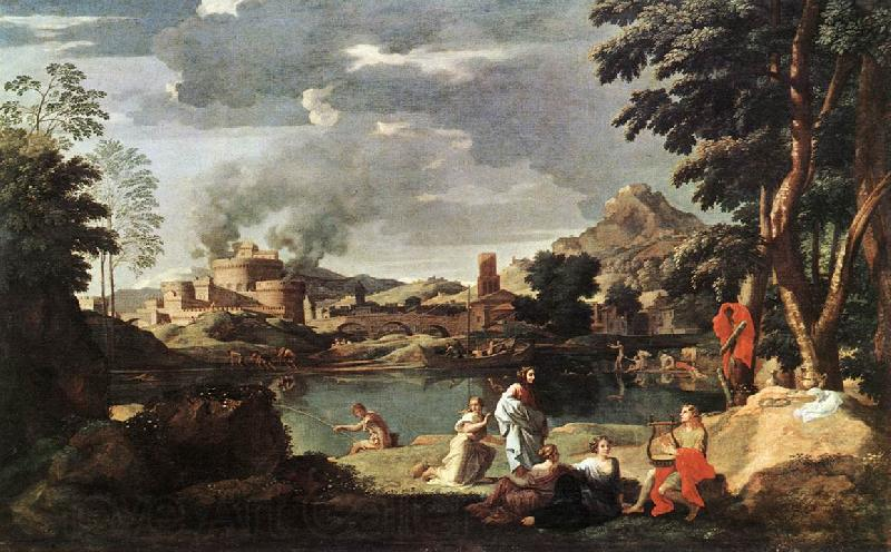 POUSSIN, Nicolas Landscape with Orpheus and Euridice sg