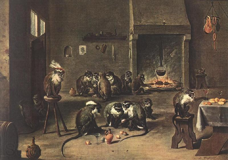 TENIERS, David the Younger Apes in the Kitchen  fdh