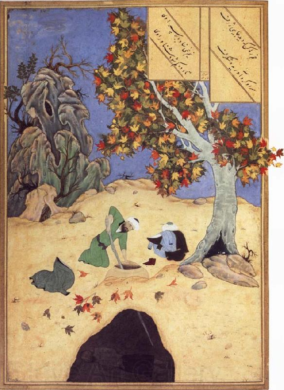 Bihzad The saintly Bishr fishes up the corpse of the blaspheming Malikha from the magic well which is the fount fo life