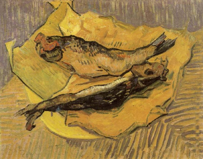Claude Monet Bloaters on a Piece of Yellow Paper