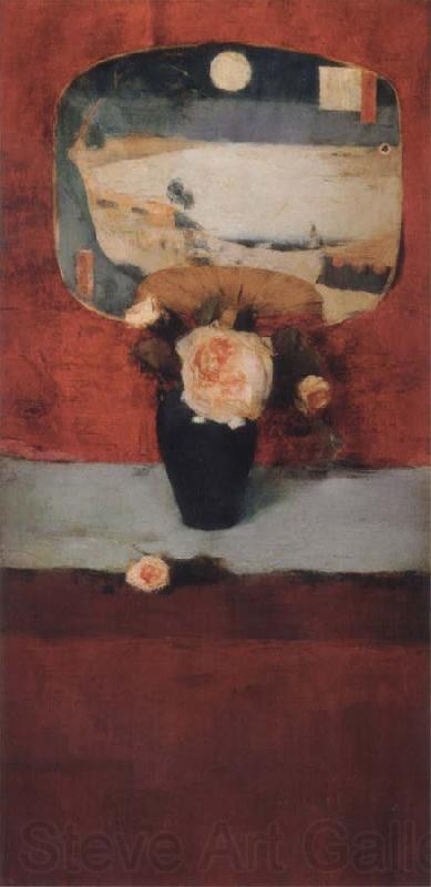 Fernand Khnopff Roses and a Japanese Fan