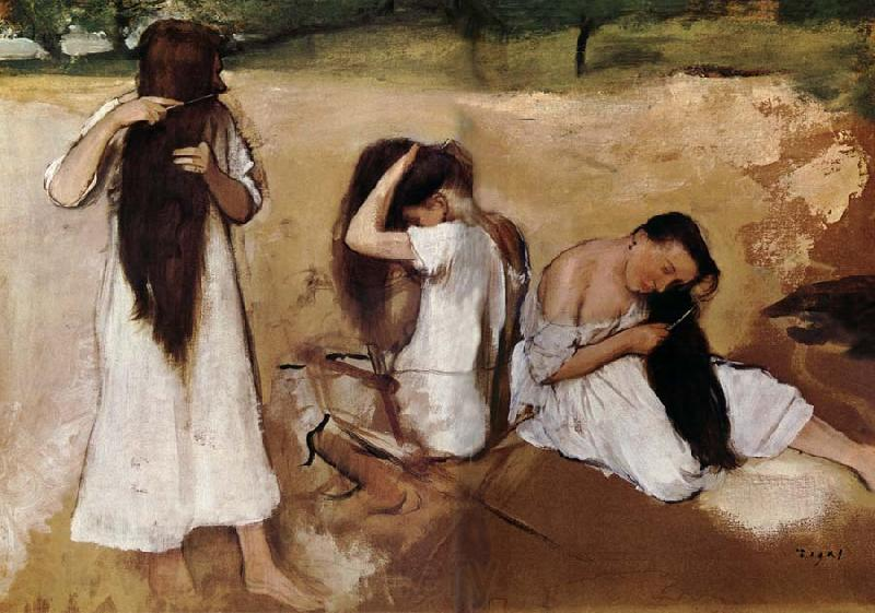 Edgar Degas Girls comb the hair