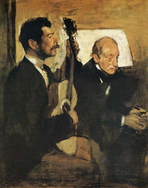 Edgar Degas Artist-s Father and Pagand