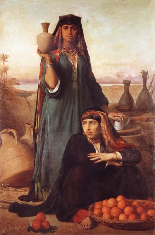 Felix-Auguste Clement Women Selling Water and Oranges on the Road to Heliopolis