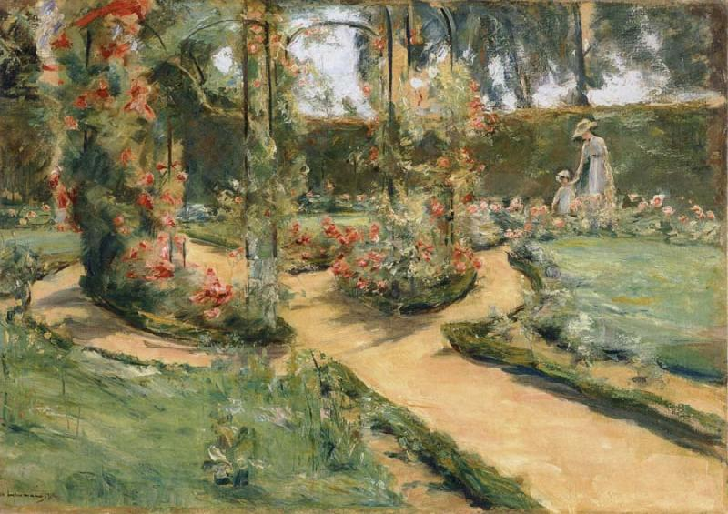 Max Liebermann The Rose Garden in Wannsee with the Artist-s Daughter and Granddaughter