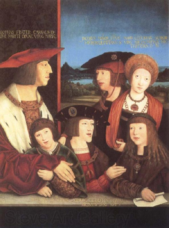 STRIGEL, Bernhard Emperor Maximilian i with his family