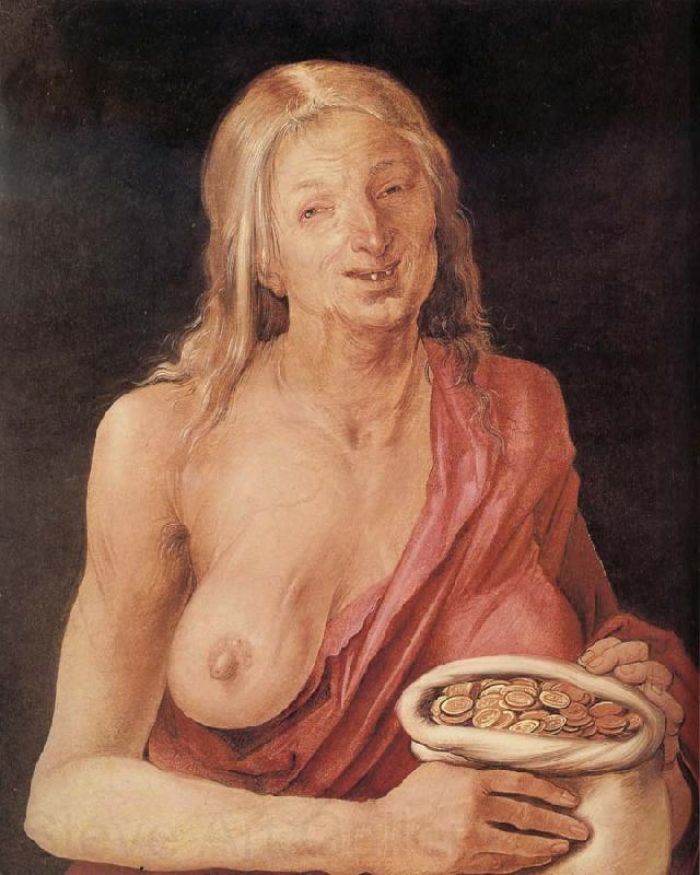 Albrecht Durer Old woman with Bag of coins