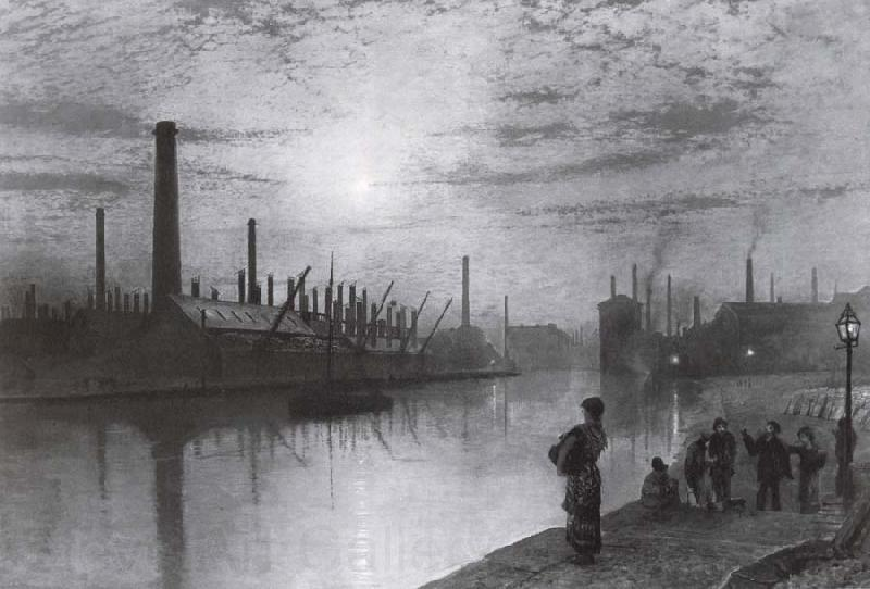 Atkinson Grimshaw Reflections on the Aire On Strike
