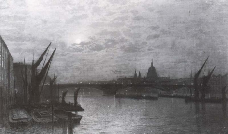 Atkinson Grimshaw The Thames by Moonlight with Southmark Bridge