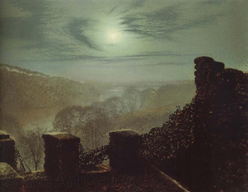 Atkinson Grimshaw Full Moon Behind Cirrus Cloud From the Roundhay Park Castle Battlements