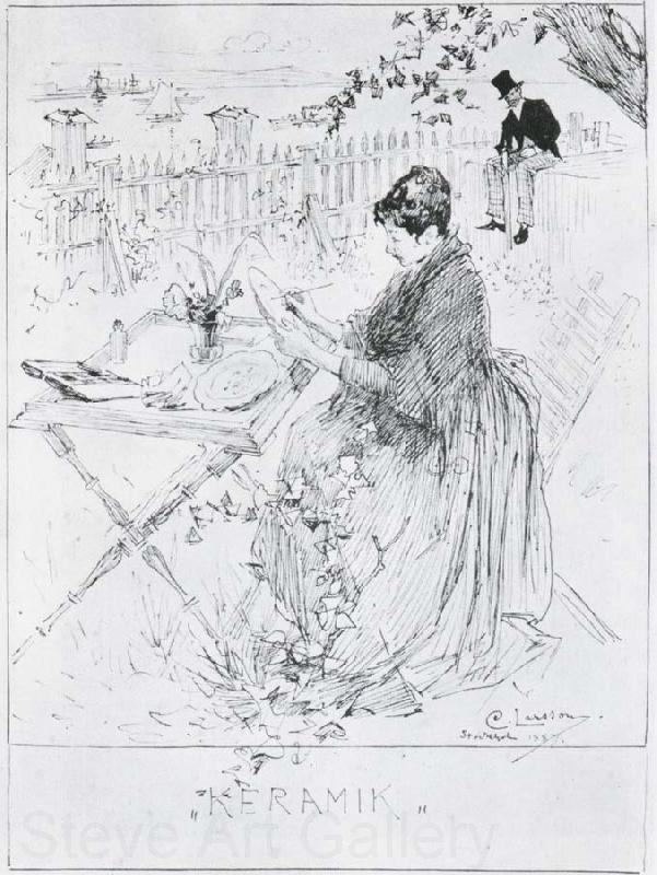 Carl Larsson Ceramics Pen and ink drawing