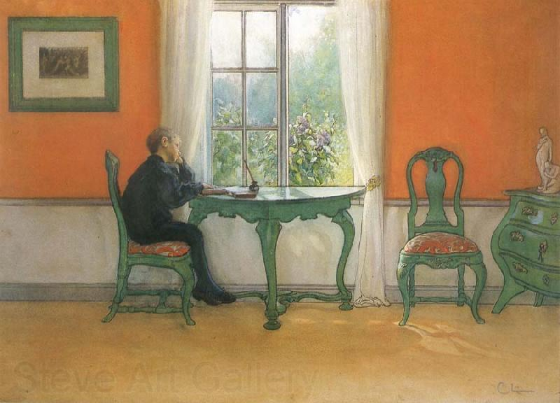 Carl Larsson Catch-up Home work in Summertime